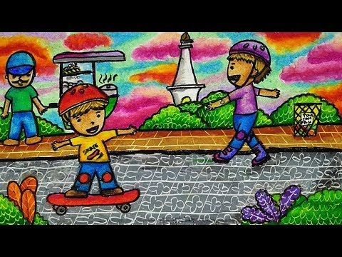 Cara Menggambar Dan Mewarnai Tema Tugu Monas Kota Jakarta