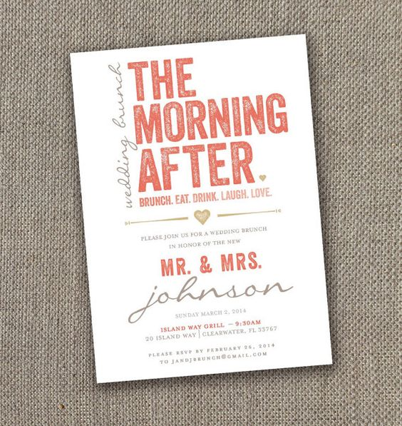 The Morning After Wedding Brunch Invitation Digital