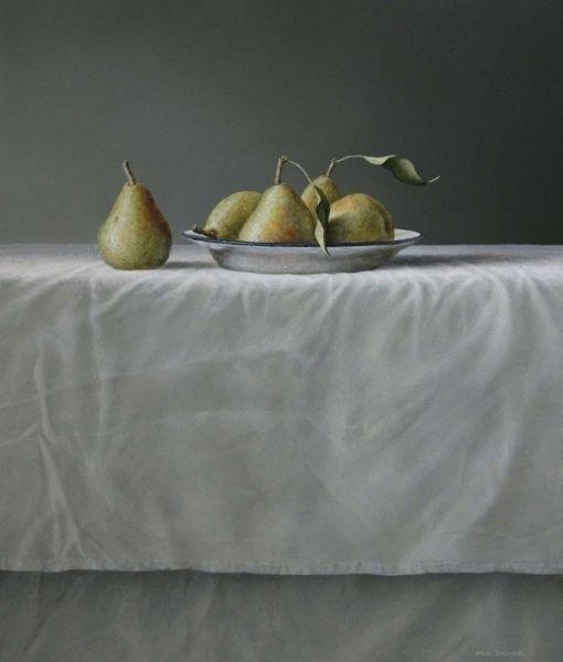 Pears on enamel plate