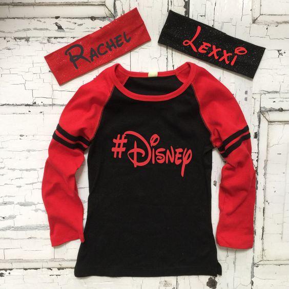 CLOSEOUT Disney Shirt For Girls ~ #Disney Red Black Raglan