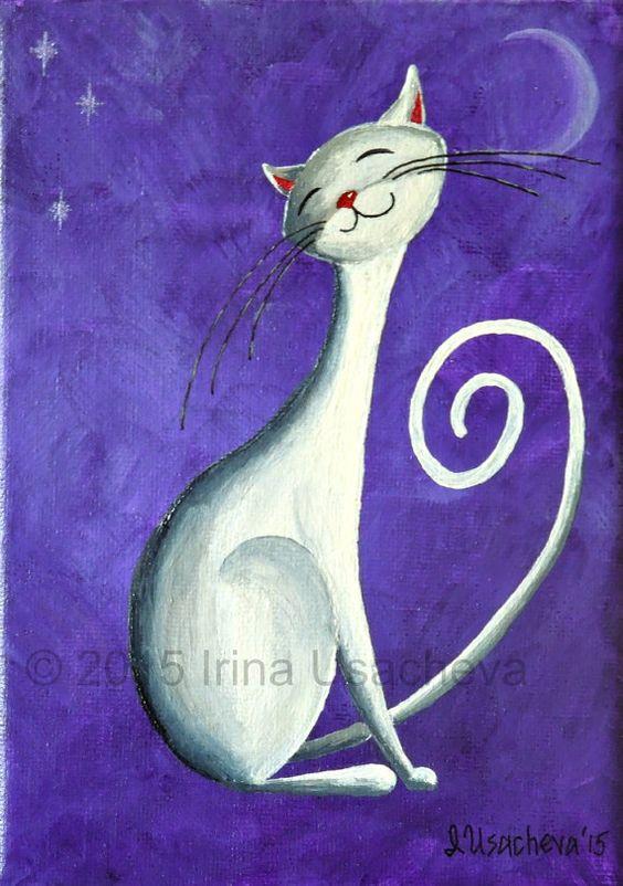 Original Painting for Sale : Fantasy Cat White by NaturelandsAndCo