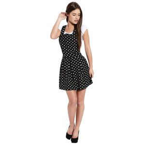 Influence Women's Polka Dot Dungaree Dress - Black