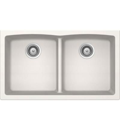 Buy Here: http://thd.co/1K2H8oY SCHOCK EDO EDON200YU099 Undermount Composite 33 in. 0-Hole 50/50 Double Bowl Kitchen Sink in Polaris #kitchensink #kitchensinks #kitchen #sinks #schock #granitesink