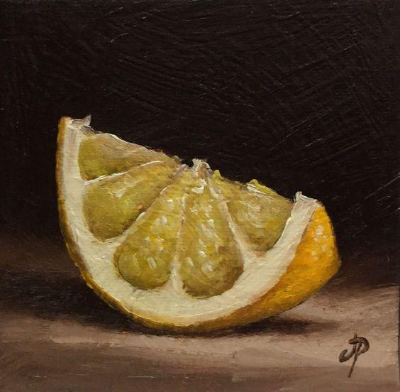 Little Lemon slice, Original Oil Painting still life by Jane ...