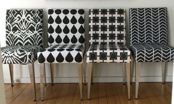 Salvaged Dining Chairs Reupholstered In Black And White
