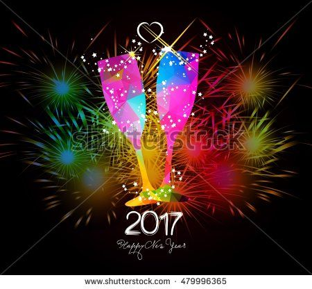 Happy New Year 2017 Fireworks and colorful triangle glass: