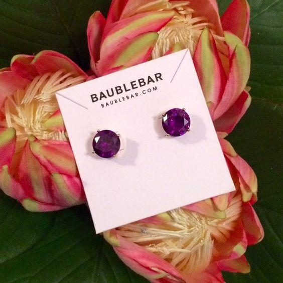NWT BaubleBar Round Gem Studs NWT BaubleBar Round Gem Studs in amethyst (purple). Dust bag included. ✖️Trades ✖️PayPal ✔️Offers. BaubleBar Jewelry Earrings