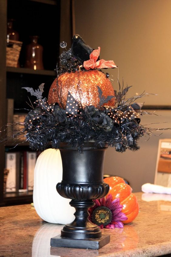 glitter pumpkin urn