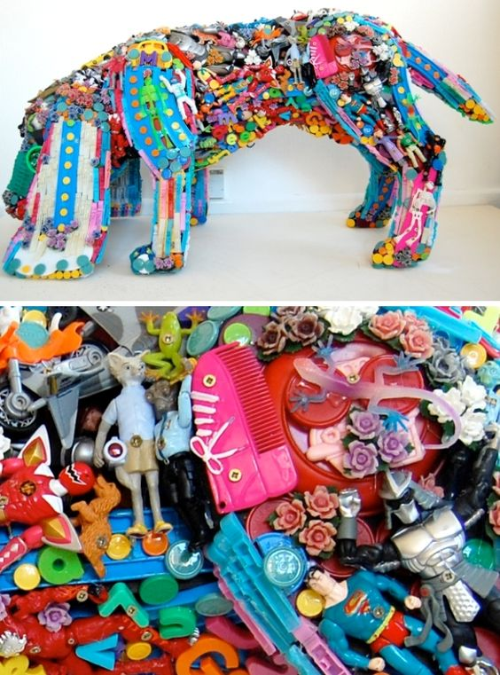 Cool art made from used toys recycled toy dog sculpture for Cool things to make with recycled materials