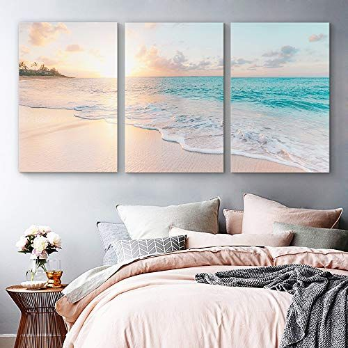 Signford 3 Piece Canvas Wall Art For Living Room Bedroom Home Artwork Paintings Romantic Beac Living Room Art Bedroom Art Above Bed Wall Decor Bedroom