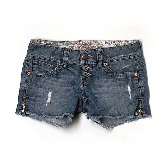 Pre-owned Guess Jeans Denim Shorts Size 2: Blue Women's Bottoms ($15) ❤ liked on Polyvore featuring shorts, blue, short jean shorts, jean shorts, denim shorts, guess shorts and blue denim shorts