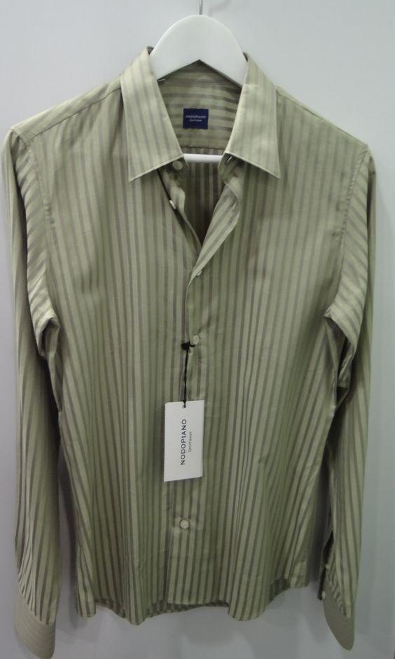 Camisa verde rayas satinadas