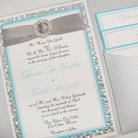 Beautiful Silver Tiffany Wedding Invitation from Evenstar – Tiffany Blue Wedding Invitation