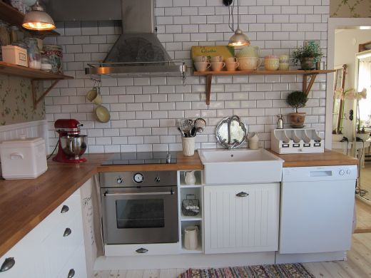 rustic tiles kitchen open shelving small sink and butcher block counters on 2067