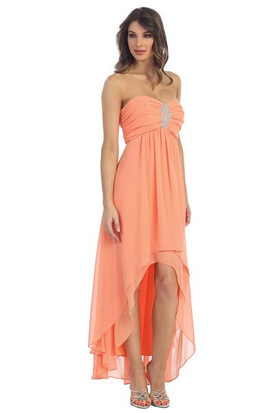 peach prom dress high low wwwimgkidcom the image kid