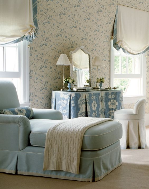 Soft blues in a French country bedroom with chaise. Beautiful Classically Refined Rooms on Hello Lovely Studio.