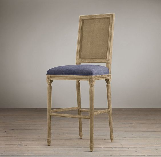 Vintage French Cane Back Square Upholstered Barstool Bar
