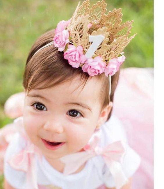 floral baby crown metallic toddler headband baby shower gift infant headband Felt flower crown birthday crown little girl headband