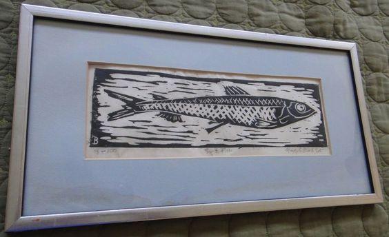 VINTAGE WOOD BLOCK FISH WALL HANGING ART MID CENTURY MODERN RETRO 60s 70s SIGNED