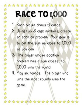 FREE Three Digit Addition and Subtraction: Race to the Answer!