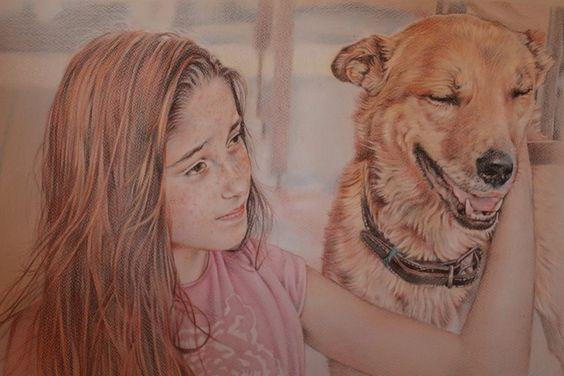 """retrato """"Niña y perro"""""""