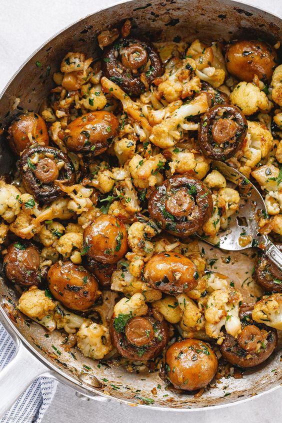 Garlic Mushrooms Cauliflower Skillet