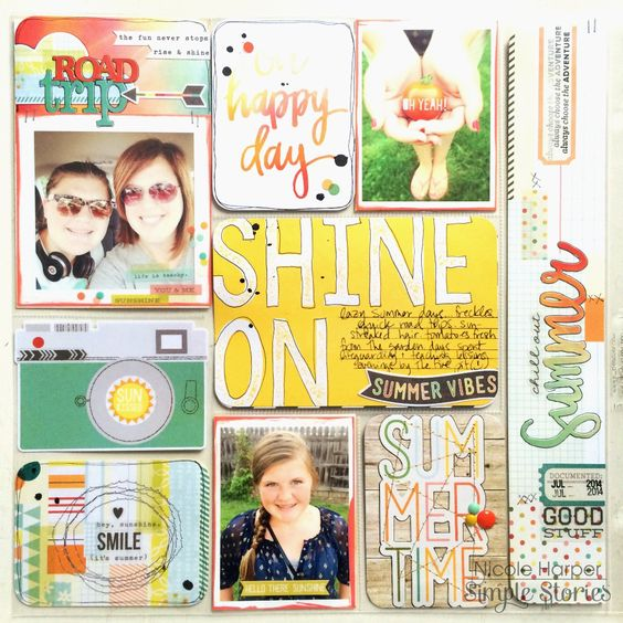 Simple Stories Summer Vibes pocket page - Scrapbook.com - Made with the Simple Stories Summer Vibes collection.