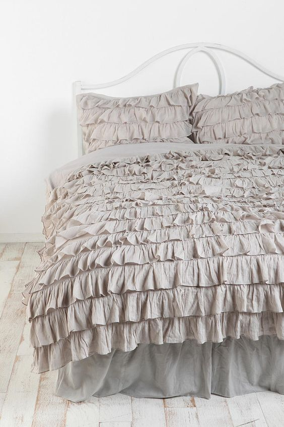Waterfall Ruffle Duvet Cover & Pillow Cases I just ordered this from UO!! Too excited!