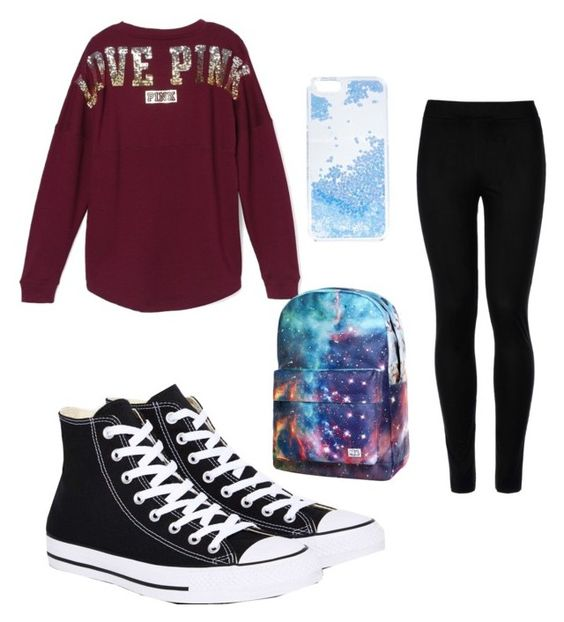 7th Grade by kaileyknaak on Polyvore featuring polyvore fashion style Victoria's Secret Wolford Converse Skinnydip clothing