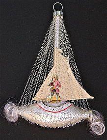 German Blow Glass Sail Boat Christmas Tree Ornament