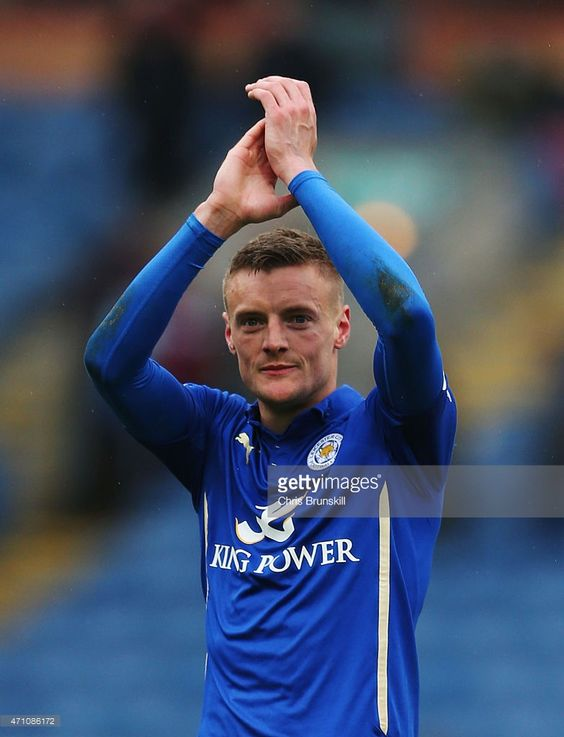 Jamie Vardy of Leicester City ackoweldges the fans during the Barclays Premier League match between Burnley and Leicester City at Turf Moor on April 25, 2015 in Burnley, England.