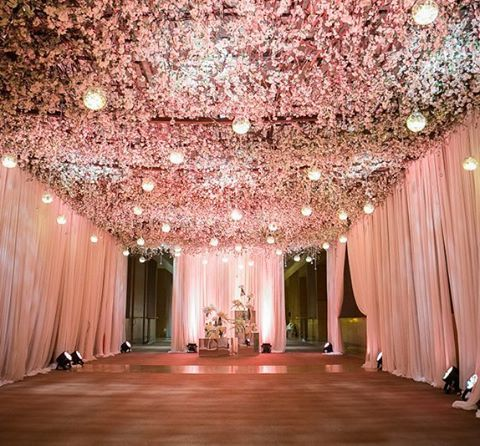 Reception decor with a floral ceiling yes please decor for Yes decoration