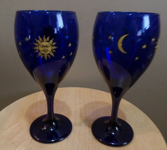 SET of 2 Vintage Libbey Celestial Sun Moon Stars Cobalt Blue Glass WINE Glasses #libbey