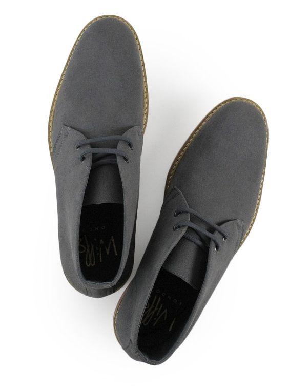 Vegan- Non-Leather Mens Desert Boots Grey