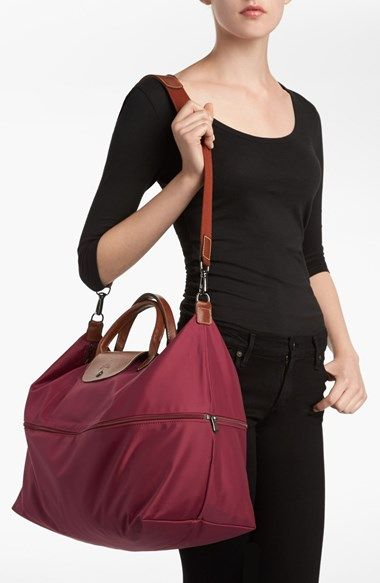 Discount Light Longchamp Embroidered Backpack Coffee