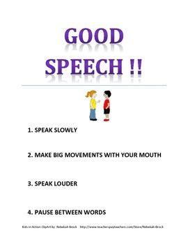 Freebie! Good Speech Poster for Speech Room, classroom and home
