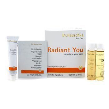 Radiant You Kit (Normal/Dry): Cleansing Cream + Facial Toner + Lavender Bath + Rejuvenating Mask - 4pcs by Dr.Hauschka. $13.54. 4pcs. Radiant You Kit (Normal/Dry): 1x Cleansing Cream 10g/0.35oz 1x Facial Toner 10ml/0.34oz 1x Lavender Bath 10ml/0.34oz 1x Rejuvenating Mask 2.5ml/0.08ozIdeal both for personal use & as a giftProduct Line: Dr. Hauschka - CleanserProduct Size: 4pcs