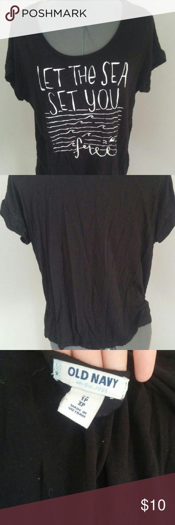 Black t shirt old navy -  Let The Sea Set You Free Black Shirt Old Navy Black Sea Themed Slouchy