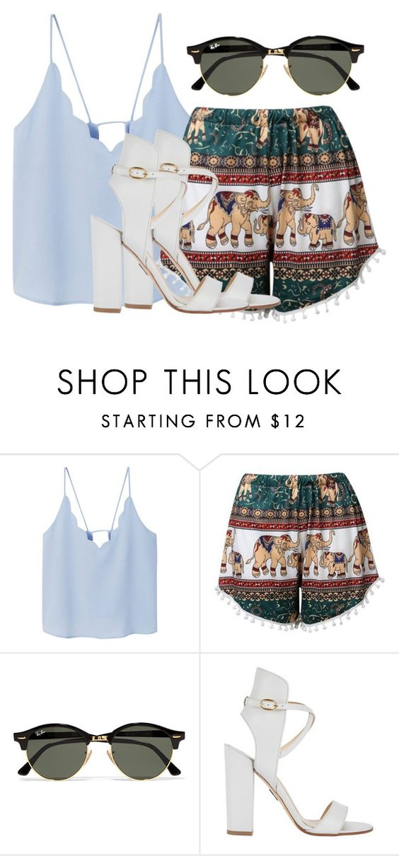 """""""Untitled #718"""" by justfabforever ❤ liked on Polyvore featuring MANGO, Ray-Ban and Paul Andrew"""