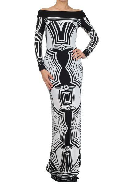 Shop Kami Shade' - The Matrix Black Printed Off Shoulder Maxi Dress, $138.00 (http://www.kamishade.com/daytime-casual-mini-maxi-dresses/the-matrix-black-printed-off-shoulder-maxi-dress/)