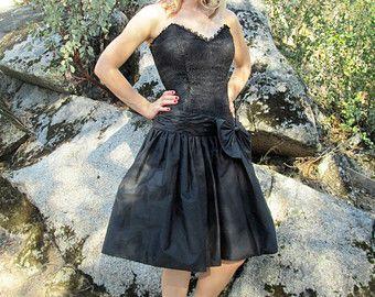 Vtg 80s SCOTT MCCLINTOK Strapless Bustier Lace Party Dress sz 12