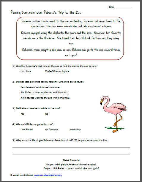 Printables Reading Comprehension Worksheets 1st Grade reading comprehension worksheets 1st grade davezan rebecca 39 s trip to the zoo trips 2