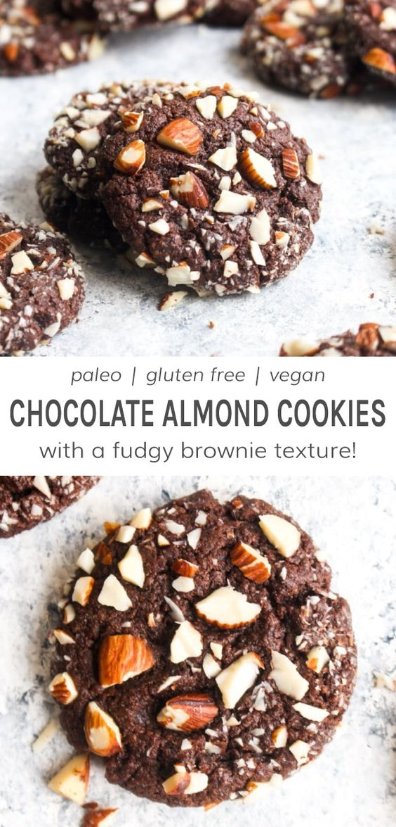 Paleo Chocolate Almond Cookies are made with healthy whole food ingredients and have the flavor and texture of a fudgy brownie! The base of these vegan cookies is a simple trio of almond butter, flax seeds, and coconut sugar. They are full of healthy fats, oil free, and the perfect gluten free addition to your Christmas cookie tray! #chocolatecookierecipe #chocolatealmondcookierecipe #glutenfreechristmascookie #veganchristmascookie #chocolatecookierecipe #paleochristmascookie | DarnGoodVeggies.c