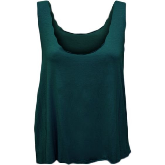 Isadora Scallop Edge Vest Top ($17) ❤ liked on Polyvore featuring tops, teal, sleeveless tank tops, scalloped tank top, plus size tank tops, sleeveless tops and plus size tops