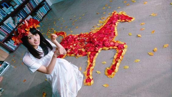 落ち葉のお馬と菅井友香