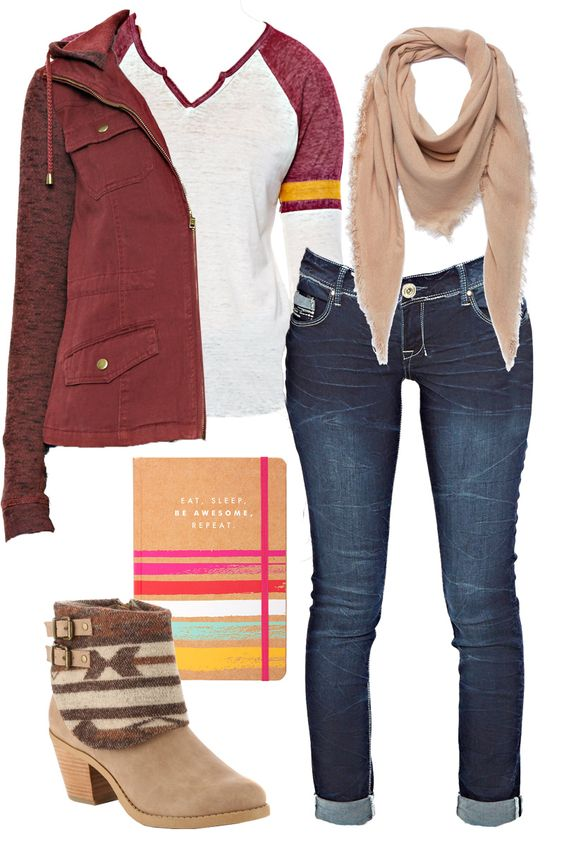 Layer-up with the 5 must-have items this fall: 1. Cargo Jacket 2. Triangle Scarf 3. Roll-cuff Denim 4. Textured Bootie 5. Ringer T-Shirt #GotItAtGordmans: