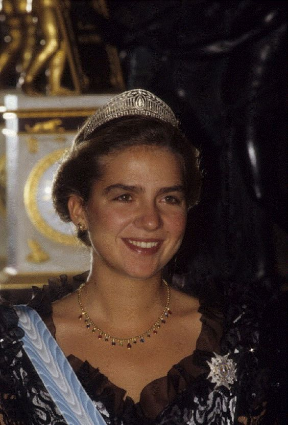 Infanta Cristina of Spain during a visit by Queen Elizabeth II in Madrid on October 18, 1988.