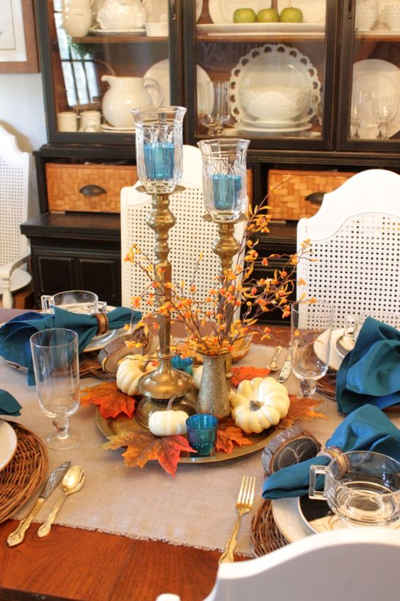 Fall Tablescape Love The Teal Accent Color Fall Ideas