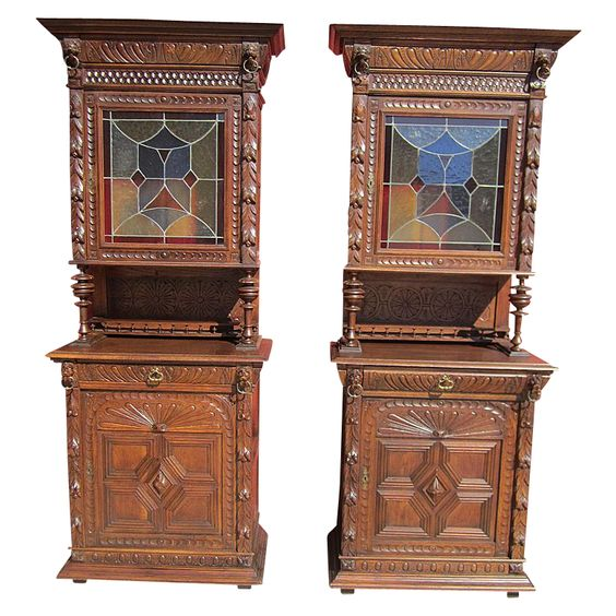 kitchen cabinets pic pair of antique hutch cabinets with stained glass 20998