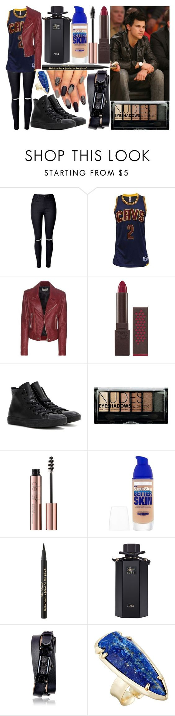 """""""cleveland cavaliers game w/ taylor lautner"""" by silent-killer ❤ liked on Polyvore featuring Balenciaga, Burt's Bees, Converse, Boohoo, Maybelline, Too Faced Cosmetics, Gucci, Givenchy and Kendra Scott"""